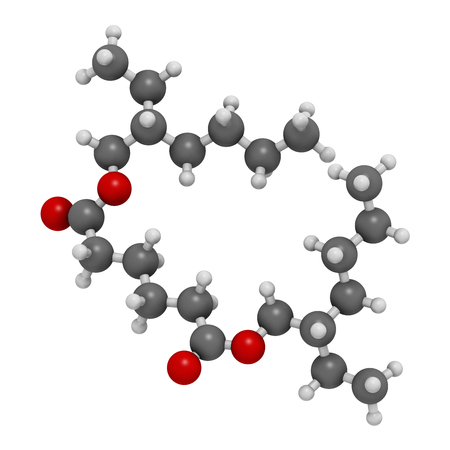 Bis(2-ethylhexyl) adipate (DEHA, diisooctyl adipate) plasticizer molecule. 3D rendering.  Atoms are represented as spheres with conventional color coding: hydrogen (white), carbon (grey), oxygen (red).