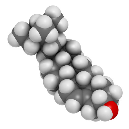 benign: Beta-sitosterol phytosterol molecule. 3D rendering.  Investigated in treatment of benign prostate hyperplasia (BPH) and high cholesterol levels. Atoms are represented as spheres with conventional color coding: hydrogen (white), carbon (grey), oxygen (red)