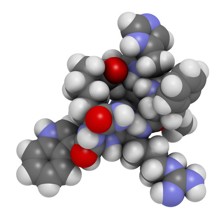 aphrodisiac: Melanotan II synthetic tanning drug molecule. 3D rendering.  Not approved as drug.  Atoms are represented as spheres with conventional color coding: hydrogen (white), carbon (grey), oxygen (red), nitrogen (blue). Stock Photo