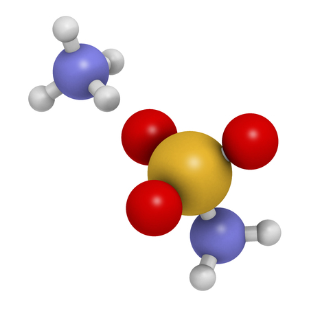 sulfur: Ammonium sulfamate herbicide (weed killer) molecule. 3D rendering.  Atoms are represented as spheres with conventional color coding: hydrogen (white), oxygen (red), nitrogen (blue), sulfur (yellow).