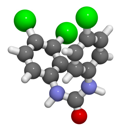 antibacterial: Triclocarban antibacterial agent molecule. 3D rendering.  Often used in antibacterial soaps and lotions. Atoms are represented as spheres with conventional color coding: hydrogen (white), carbon (grey), oxygen (red), nitrogen (blue), chlorine (green).