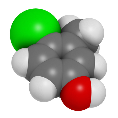 antiseptic: Chlorocresol (p-chlorocresol) antiseptic and preservative molecule. 3D rendering.  Atoms are represented as spheres with conventional color coding: hydrogen (white), carbon (grey), oxygen (red), chlorine (green).
