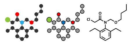 Butachlor herbicide molecule. Gestileerde 2D-renderings en conventionele skelet formule. Vector Illustratie