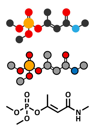 pollutant: Monocrotophos organophosphate insecticide molecule. Also known to be persistent organic pollutant. Stylized 2D renderings and conventional skeletal formula. Illustration