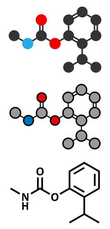 insecticide: Isoprocarb insecticide molecule. Stylized 2D renderings and conventional skeletal formula.