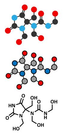 Diazolidinyl urea antimicrobial preservative molecule (formaldehyde releaser). Stylized 2D renderings and conventional skeletal formula.