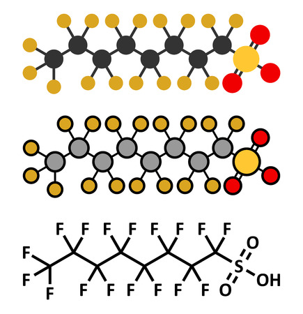 Perfluorooctanesulfonic acid (perfluorooctane sulfonate, PFOS) persistent organic pollutant molecule. Stylized 2D renderings and conventional skeletal formula.