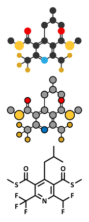fluorine: Dithiopyr preemergent herbicide molecule. Stylized 2D renderings and conventional skeletal formula.