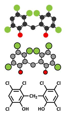 Hexachlorofeen ontsmettingsmiddel molecuul. Gestileerde 2D-renderings en conventionele skelet formule.