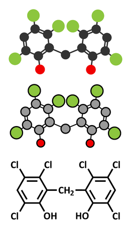 desinfectante: molécula de desinfectante hexaclorofeno. representaciones 2D y estilizadas fórmula esquelética convencional.