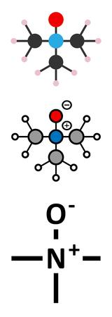 Trimethylamine N-oxide (TMAO) molecule. Stylized 2D renderings and conventional skeletal formula.