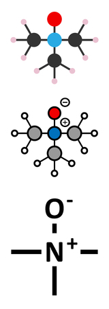 amine: Trimethylamine N-oxide (TMAO) molecule. Stylized 2D renderings and conventional skeletal formula.