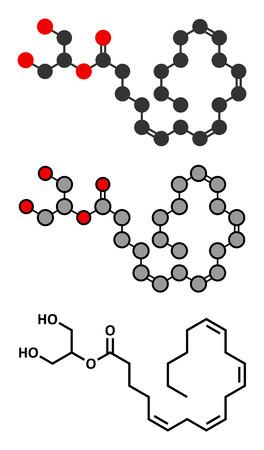 endogenous: 2-Arachidonoylglycerol (2-AG) endocannabinoid neurotransmitter molecule. Stylized 2D renderings and conventional skeletal formula.
