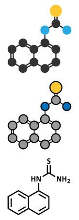 Alpha-naphthylthiourea (ANTU) rodenticide molecule. Stylized 2D renderings and conventional skeletal formula. Illustration