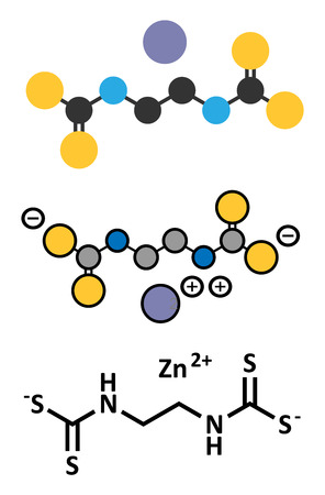 mildew: Zineb zinc organosulfur fungicide molecule. Stylized 2D renderings and conventional skeletal formula.