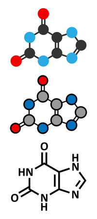 purine: Xanthine purine base molecule.  Stylized 2D renderings and conventional skeletal formula.