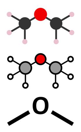 refrigerant: Dimethyl ether (methoxymethane, DME) molecule. Stylized 2D renderings and conventional skeletal formula.