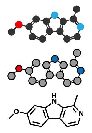 alkaloid: Harmine alkaloid molecule. Herbal inhibitor of monoamine oxidase A. (MAO-A). Stylized 2D renderings and conventional skeletal formula.