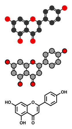 dye: Apigenin yellow herbal dye molecule. Stylized 2D renderings and conventional skeletal formula.