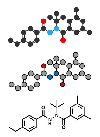 Tebufenozide insecticide molecule. Stylized 2D renderings and conventional skeletal formula. Illustration