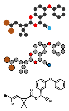 insecticide: Deltamethrin insecticide molecule (synthetic pyrethroid). Stylized 2D renderings and conventional skeletal formula.