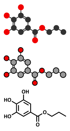 estrogen: Propyl gallate antioxidant food additive molecule. Stylized 2D renderings and conventional skeletal formula.