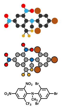oxidative: Bromethalin rodenticide molecule (rat poison). Stylized 2D renderings and conventional skeletal formula. Illustration