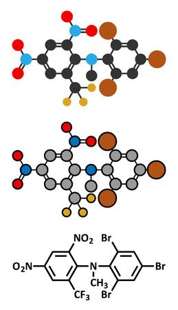 fluorine: Bromethalin rodenticide molecule (rat poison). Stylized 2D renderings and conventional skeletal formula. Illustration