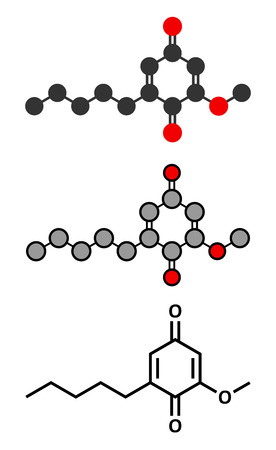 allergen: Primin primrose plant allergen molecule. Stylized 2D renderings and conventional skeletal formula.