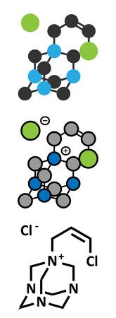 preservative: Quaternium-15 surfactant and preservative molecule (formaldehyde releaser). Stylized 2D renderings and conventional skeletal formula.