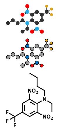 fluorine: Benfluralin herbicide molecule. Stylized 2D renderings and conventional skeletal formula.