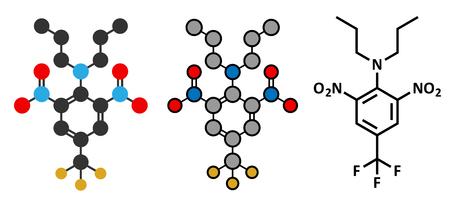 Trifluralin herbicide molecule. Illustration