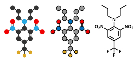 herbicide: Trifluralin herbicide molecule. Illustration