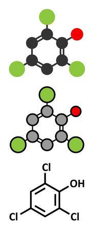 tcp: Trichlorophenol (TCP, 2,4,6-trichlorophenol) molecule. Stylized 2D renderings and conventional skeletal formula.