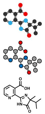 herbicide: Imazapyr herbicide molecule. Stylized 2D renderings and conventional skeletal formula. Illustration