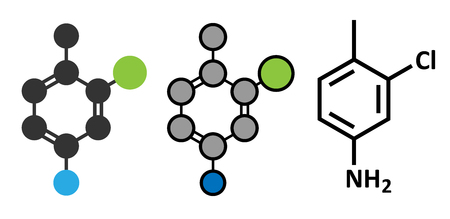 toxicant: Starlicide avicide molecule (gull toxicant). Stylized 2D renderings and conventional skeletal formula.