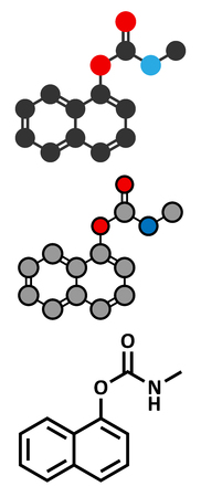insecticide: Carbaryl (carbaril) insecticide molecule (carbamate class). Stylized 2D renderings and conventional skeletal formula.