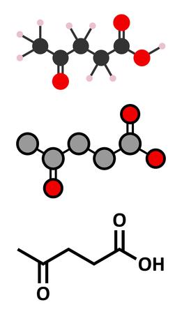 celulosa: mol�cula de �cido levul�nico. Hecho por la degradaci�n de la celulosa, precursor potencial de los biocombustibles. representaciones 2D y estilizadas f�rmula esquel�tica convencional.
