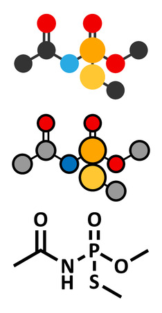 insecticide: Acephate insecticide molecule. Stylized 2D renderings and conventional skeletal formula.