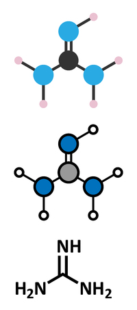 propellant: Guanidine molecule. Stylized 2D renderings and conventional skeletal formula.