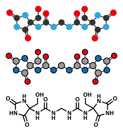 urea: Imidazolidinyl urea antimicrobial preservative molecule (formaldehyde releaser). Stylized 2D renderings and conventional skeletal formula.