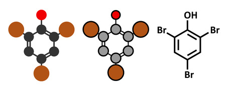 preservative: Tribromophenol (TBP, 2,4,6-Tribromophenol) molecule. Used as fungicide and wood preservative. Stylized 2D renderings and conventional skeletal formula. Illustration