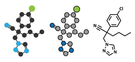 mildew: Myclobutanil antifungal molecule (triazole class). Stylized 2D renderings and conventional skeletal formula.