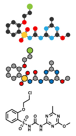 herbicide: Triasulfuron herbicide molecule. Stylized 2D renderings and conventional skeletal formula. Illustration