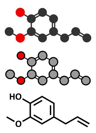 balsam: Eugenol herbal essential oil molecule. Present in cloves, nutmeg, etc. Stylized 2D renderings and conventional skeletal formula.