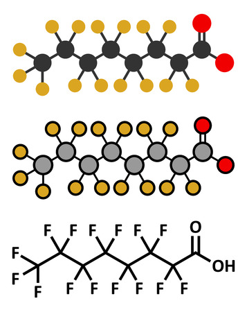 toxicant: Perfluorooctanoic acid (PFOA, perfluorooctanoate) carcinogenic pollutant molecule. Stylized 2D renderings and conventional skeletal formula.