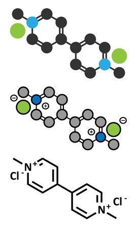 herbicide: Paraquat herbicide molecule. Stylized 2D renderings and conventional skeletal formula. Illustration
