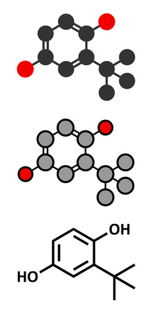 TBHQ (tert-Butylhydroquinone) antioxidant preservative molecule. Stylized 2D renderings and conventional skeletal formula. Illustration