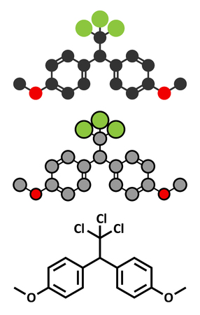disrupting: Methoxychlor pesticide molecule. Stylized 2D renderings and conventional skeletal formula.