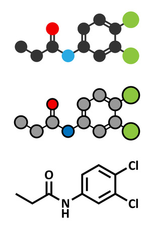 herbicide: Propanil herbicide molecule. Stylized 2D renderings and conventional skeletal formula.